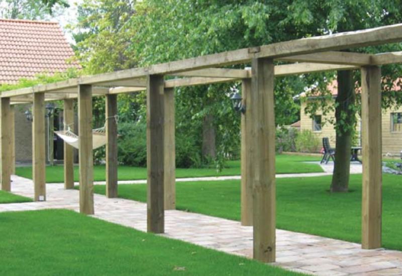 Tuinhout groenmaat hoveniers - Pergolas hout adossee ...